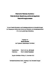 Electronic Reverse Auctions - Zielorientierte Gestaltung auktionsintegrierter Beschaffungsprozesse