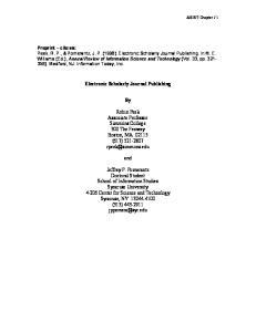 Electronic Scholarly Journal Publishing