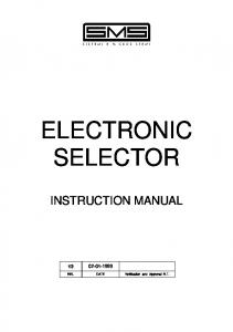 ELECTRONIC SELECTOR INSTRUCTION MANUAL REL. DATE Verification and Approval R.T