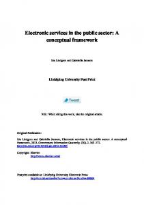 Electronic services in the public sector: A conceptual framework