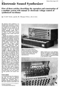 Electronic Sound Synthesizer