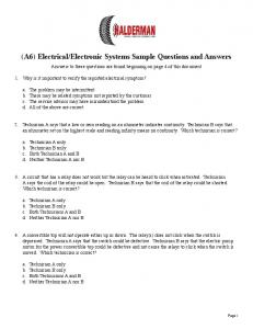 Electronic Systems Sample Questions and Answers
