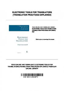 ELECTRONIC TOOLS FOR TRANSLATORS (TRANSLATION PRACTICES EXPLAINED)