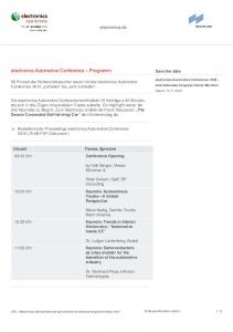 electronica Automotive Conference Programm
