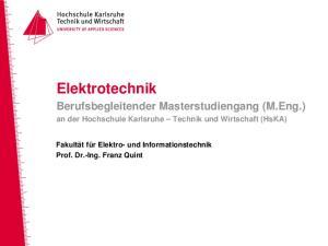 Elektrotechnik. Berufsbegleitender Masterstudiengang (M.Eng.) an der Hochschule Karlsruhe Technik und Wirtschaft (HsKA)
