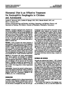 Elemental Diet Is an Effective Treatment for Eosinophilic Esophagitis in Children and Adolescents