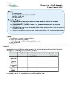 Elementary Math Agenda Primary: January 2012
