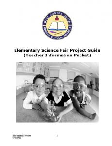 Elementary Science Fair Project Guide (Teacher Information Packet)