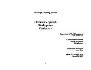 Elementary Spanish Kindergarten Curriculum