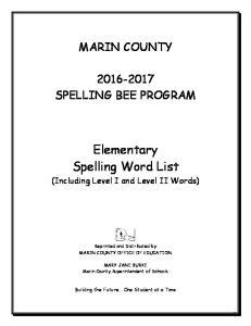 Elementary Spelling Word List