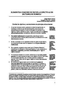 ELEMENTOS COMUNES DE ESCUELAS EFECTIVAS EN SECTORES DE POBREZA 1