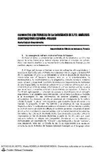 ELEMENTOS CULTURALES EN LA ENSEÑANZA DE ElLE: ANÁLISIS CONTRAS'nvo ESPAÑOL-POLACO