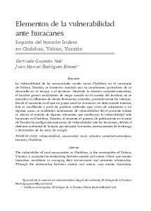 Elementos de la vulnerabilidad ante huracanes
