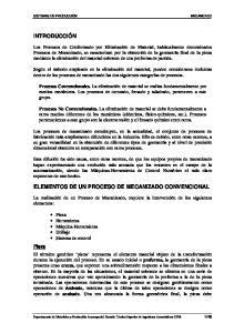 ELEMENTOS DE UN PROCESO DE MECANIZADO CONVENCIONAL