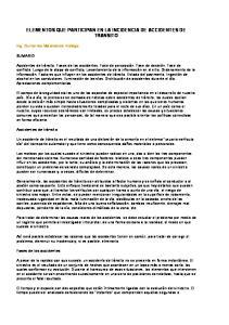 ELEMENTOS QUE PARTICIPAN EN LA INCIDENCIA DE ACCIDENTES DE TRANSITO