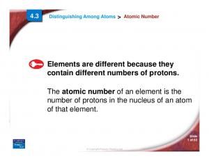 Elements are different because they contain different numbers of protons