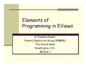 Elements of Programming in EViews