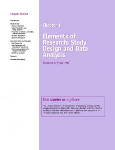 Elements of Research: Study Design and Data Analysis