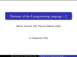 Elements of the R programming language 2