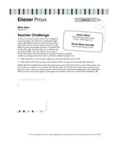 Eliezer Prays. Teacher Challenge. Bible Story Genesis 24. God s Word. God s Word and Me I can choose to pray to God