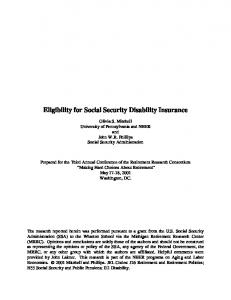 Eligibility for Social Security Disability Insurance