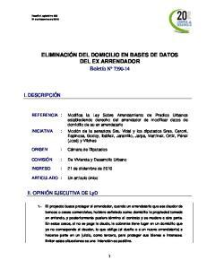 ELIMINACIÓN DEL DOMICILIO EN BASES DE DATOS DEL EX ARRENDADOR Boletín N