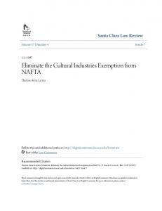 Eliminate the Cultural Industries Exemption from NAFTA