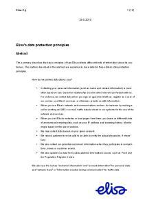 Elisa's data protection principles
