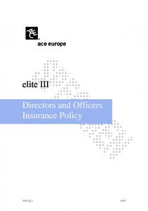 elite III Directors and Officers Insurance Policy