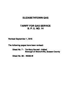 ELIZABETHTOWN GAS TARIFF FOR GAS SERVICE B. P. U. NO. 14