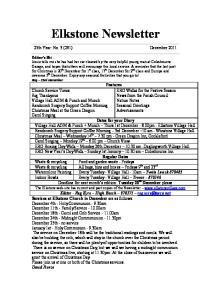 Elkstone Newsletter. 25th Year: No. 3 (291) December 2011