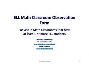 ELL Math Classroom Observation Form