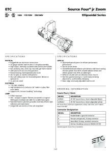 Ellipsoidal Series. SPECIFICATIONs. Source Four jr Zoom. Connector Designation
