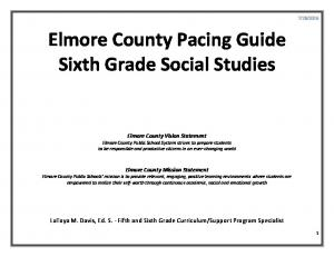 Elmore County Pacing Guide Sixth Grade Social Studies