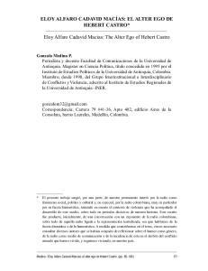 ELOY ALFARO CADAVID MACÍAS: EL ALTER EGO DE HEBERT CASTRO* Eloy Alfaro Cadavid Macias: The Alter Ego of Hebert Castro