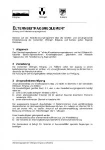ELTERNBEITRAGSREGLEMENT (Anhang zum Kinderbetreuungsreglement)