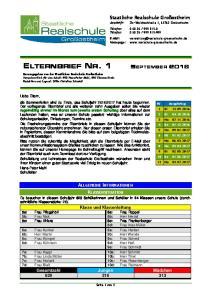 ELTERNBRIEF NR. 1 SEPTEMBER 2016