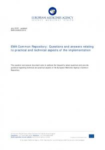 EMA Common Repository: Questions and answers relating to practical and technical aspects of the implementation