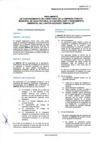 EMAPAL EP Reglamento de Funcionamiento del Directorio
