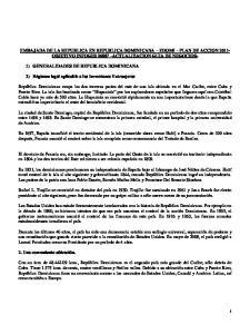 EMBAJADA DE LA REPUBLICA EN REPUBLICA DOMINICANA EDOMI PLAN DE ACCION OBJETIVO INFOGES ACTUALIZACION GUIA DE NEGOCIOS-