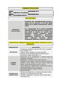 EMBARAZO PROLONGADO DEFINICIONES