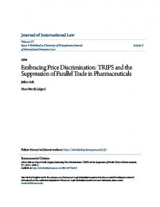 Embracing Price Discrimination: TRIPS and the Suppression of Parallel Trade in Pharmaceuticals