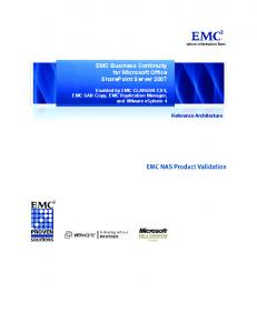 EMC Business Continuity for Microsoft Office SharePoint Server 2007