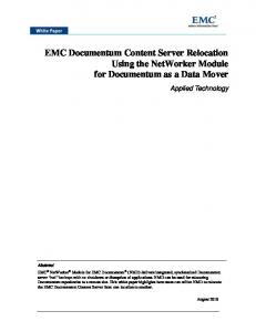 EMC Documentum Content Server Relocation Using the NetWorker Module for Documentum as a Data Mover