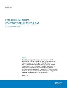 EMC DOCUMENTUM CONTENT SERVICES FOR SAP