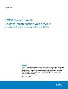 EMC Documentum Content Transformation Web Services
