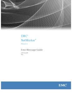 EMC NetWorker. Error Message Guide. Release A01