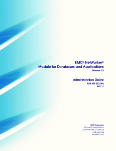 EMC NetWorker Module for Databases and Applications Release 1.2