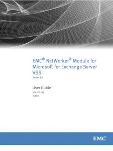 EMC NetWorker Module for Microsoft for Exchange Server VSS
