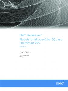 EMC NetWorker Module for Microsoft for SQL and SharePoint VSS